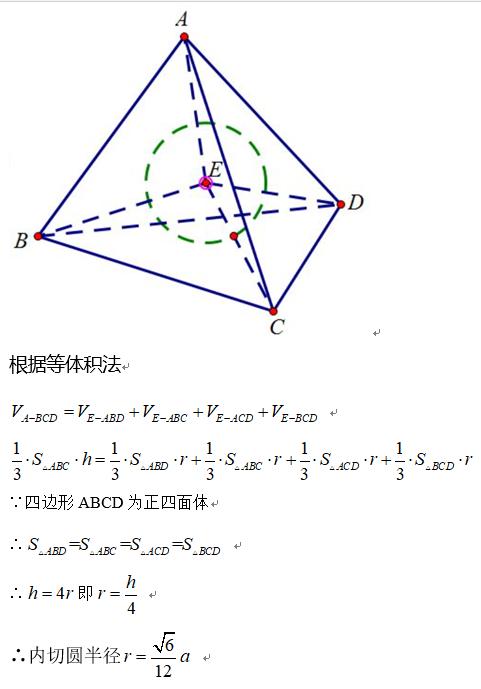 如何学好高中数学-正四面体内切球和外接球问题-定理证明